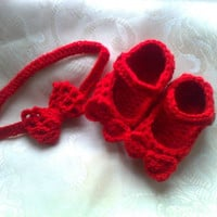 Crochet baby shoes headband PATTERN bow booties headband pattern 4SIZE 0-12 months bow headband booties pattern