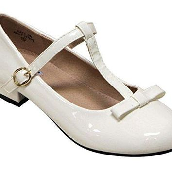 Girl's Kate-5 T-Strap Mary-Jane Low Heel Shoes