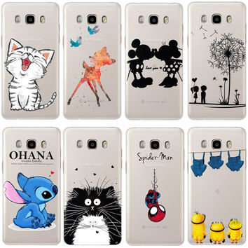 Cute Cartoon Hard PC Phone Cover Coque Fundas For Samsung Galaxy J1 J3 J5 J7 A3 A5 A7 2016 2015 S6 S7 Edge Core Grand Prime Case