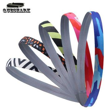 ONETOW 5 Pcs Men Women Camoflage Silicone Sweatband Anti-slip Yoga Headband Sports Hair Bands