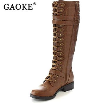 GAOKE 2017 Fashion Women Lace Up Riding Boots Chunky Low Heel Knee High Boots Buckle Side Zipper Up Winter Shoes Plus Size 43