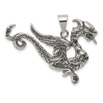 925 Sterling Silver Antiqued Dragon Charm and Pendant