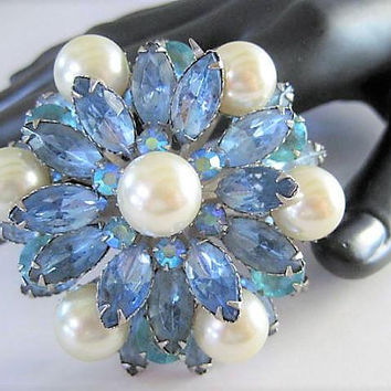 Blue Pearl Brooch, High Domed Rhinestones, Large Faux Pearls, Silver Tone Setting, Gift for Woman