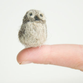 Miniature Needle Felted Natural Wool Pocket Owl by alishaharms
