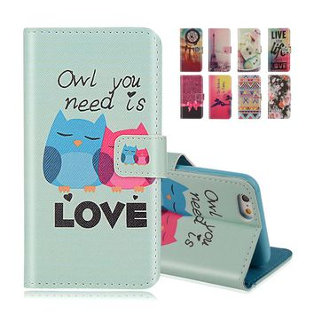For iphone SE Wallet Style Flip Case with Cute OWL Print For Apple iphone 5 5S 5G Stand PU Leather Cell Phone Protective Cover