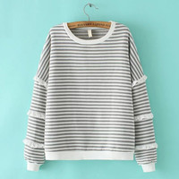Gray Stripe Ruffled Sweater