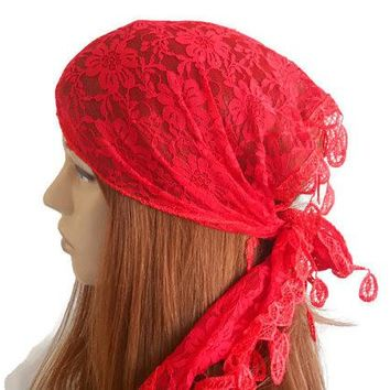 Women lace headband, Women accessory, Summer Bandana, Hair band for woman, Gypsy head band, Red Summer Headband, Head shawl, Summer turban