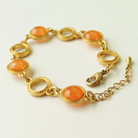 Orange Bracelet, Sweet Orange Disc Bracelet with Gold Ring Chain, Orange Resin Round Bracelet, Tangerine Bracelet, Resin Jewelry For Her