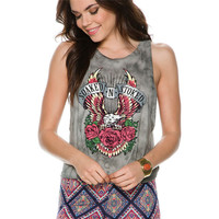 Rose Print Tie Back Sleeveless Top