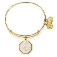 Alex and Ani Fortune's Bliss Sweet Pea Charm Bangle - Shiny Gold Fi...