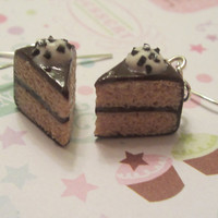 vanilla with chocolate frosting cake slice earrings
