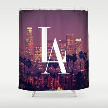 Downtown LA Vintage Skyline Typography Shower Curtain by RexLambo