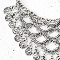 Layered Coin Statement Necklace