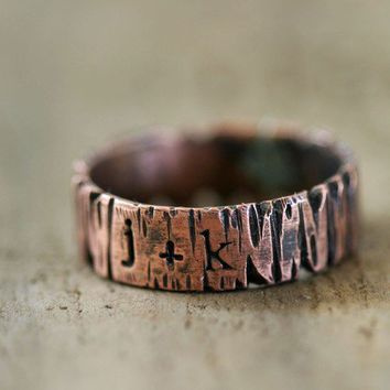 Custom Personalized Band Ring Tree Bark  by monkeysalwayslook