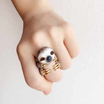 Pre-order!!! Grey Sloth 3 Piece Ring Set - Enamel ring, Animals Ring, Animals Jewelry, stackable ring, Trio Ring, Animal, Gift,Cute,Mary Lou