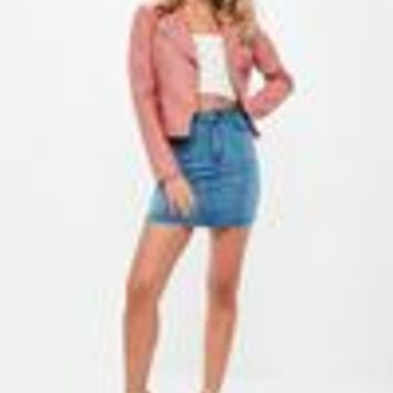 Missguided - Pink Faux Leather Biker Jacket