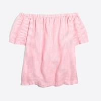 Striped linen off-the-shoulder top : | Factory