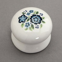 French Country White Ceramic Cabinet Knob Blue Flower / Shabby Cottage Chic Porcelain Drawer Pulls / Rustic Kitchen Cupboard Drawer Handles
