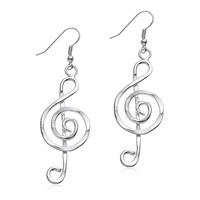 Anju Silvertone Treble Clef Music Drop Earrings