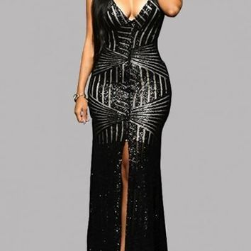 Black Sequin Cross Back Backless High Slit Banquet Party Prom Maxi Dress