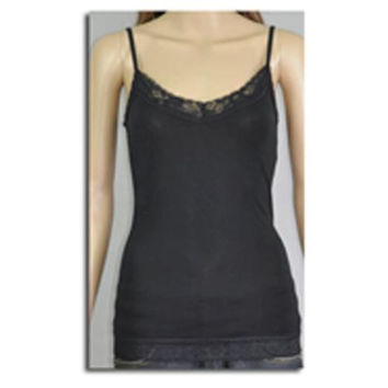 Women's Camisoles with Lace Trim - Black