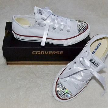 Custom Crystal White Low Top All Star Converse Blinged Crystal Toes, Ribbon Laces Chil