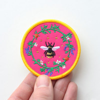 Machine Embroidered Bee Patch