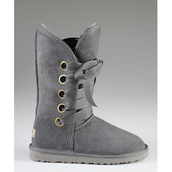 LFMON UGG 5818 Tall Lace-Up Women Fashion Casual Wool Winter Snow Boots Grey