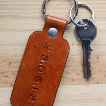 Personalized Special Date Keychains, Leather Keychain, Significant Date Key Fob, Leather Anniversary Gift, Leather Key Fob, Couples Gift