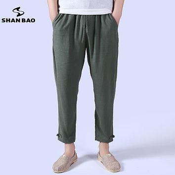 Thin section breathable linen casual pants men's Chinese style 2017 summer loose waist wide and loose harem pants men's brand