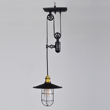 Restoration Style Vintage Iron Single Pulley Pendant Lighting