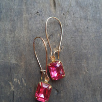 Vintage Earrings Glass Dangles Pink Accessories Gift Idea For Her Spring Wedding Mothers Day Bridesmaids under 15