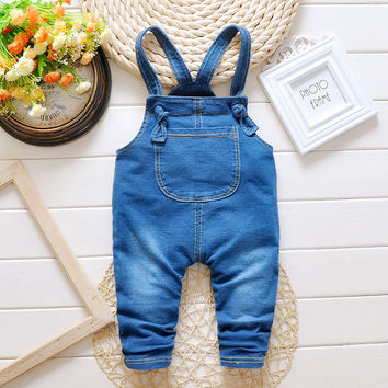 Spring Autumn Baby Jeans Newborn Baby Bow Denim Overalls Trousers Infant Clothing Toddler Girls Boys Bib Pants 0-3Years