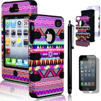 Bastex Hybrid Case for Apple Iphone 4, 4s, 4g - Black Silicone / Aztec Tribal Hard + Screen Protector & Stylus
