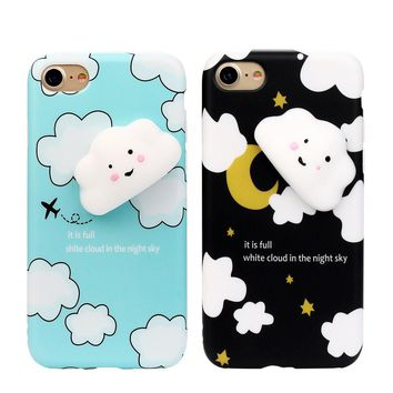 Squishy 3D Cute Small clouds Clear Silicone Back Soft Case Cover for iPhone 8