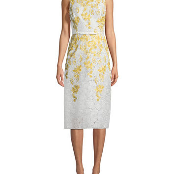 Giambattista Valli Floral-Embroidered Lace Sheath Dress