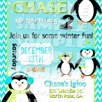 PENGUIN BIRTHDAY INVITATION - Winter Wonderland Invite - Winter Birthday - Penguin Invite - Christmas Birthday - Winter Birthday Penguins
