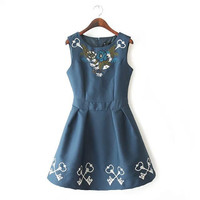Floral Embroidery Handcrafts One Piece Dress [5013132100]