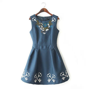 Women's Fashion Embroidery Corset Sleeveless Ruffle Dress Vest One Piece Dress [6343273921]