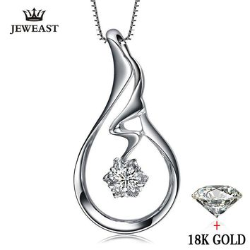 natural Diamond necklace Pendants Pure 18K Gold Jewelry Charm women Girl gift Elegant Fashion Angel Wings hot sale new good fine