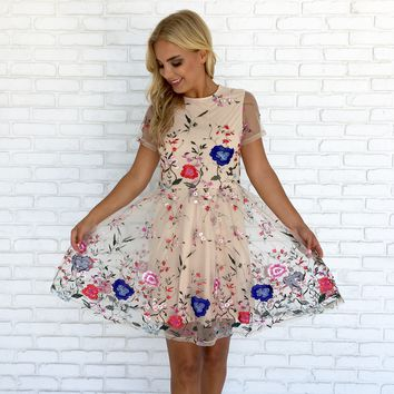 Whimsical Floral Embroider Dress