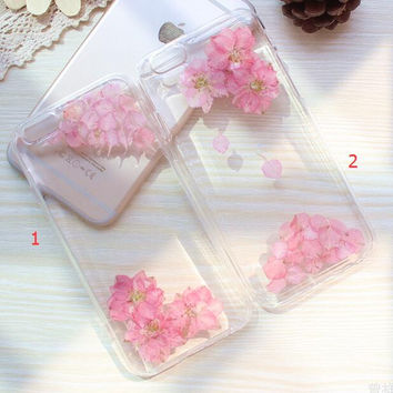 Cherry Blossoms Case 100% Handmade Dried Flowers Cover for iPhone 7 7Plus & iPhone 6 6s Plus + Gift Box B61
