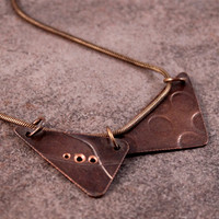 "Roller Printed Copper Triangle Necklace- Diptych- Curvy Lines and Polka Dots with 18"" Copper Snake Chain"