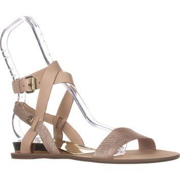Guess Leigha Ankle Strap Flat Sandals, Natural Multi Leather, 8 US