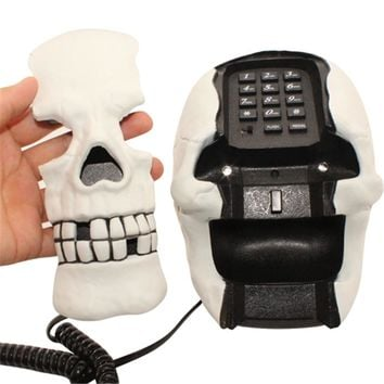 1Piece Skull Head Corded Telephone Skeleton Shape Flashing Phone