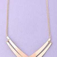 Double Chevron Statement Necklace - Gold