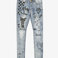 Printed Hand Art Light Stonewash Jeans