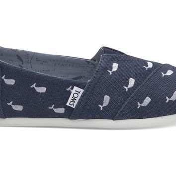 OCEANA WASHED CANVAS EMBROIDERED WHALES WOMEN'S CLASSICS