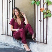Jennifer - V Neck Casual Jumpsuit