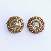 Big Crystal Stud Earrings Brown Bronze Gold Beads Beaded Medium Girlfriend Gift Stockings Valentines Day Special Unique Boho Casual